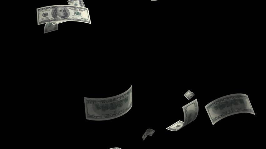 Money falling dollar banknotes on a transparent background. File format - mov. Codeck-PNG+Alpha