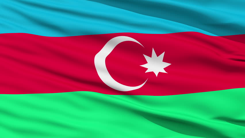 Closeup cropped view of a fluttering national flag of Azerbaijan