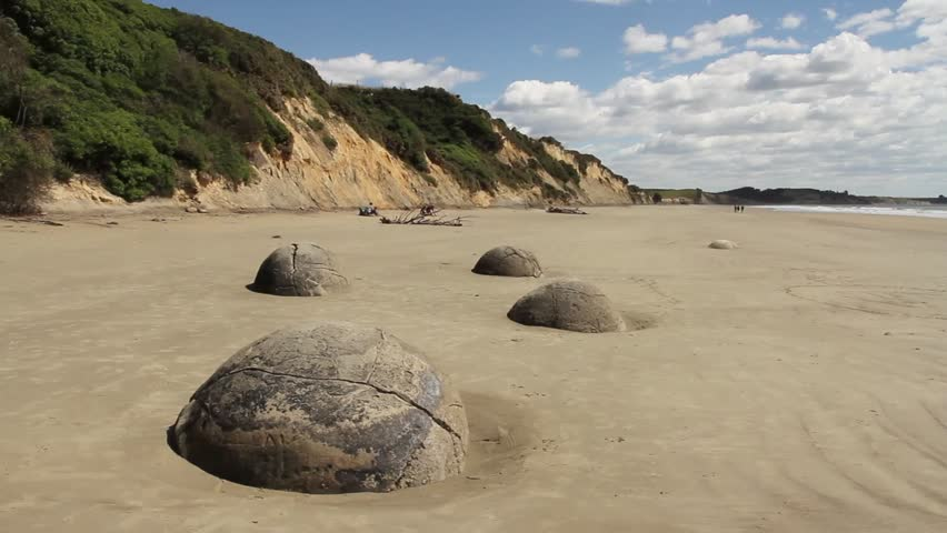 Perfectly round boulders on sandy beach with dunes and vegetation, moeraki, new zealand