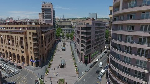 Aerial Video of the Opera House in Yerevan, Armenia from Northern Avenue