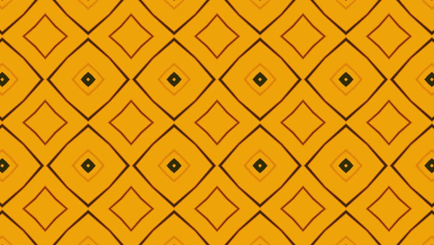 Animated computer composition in yellow tones in the style of a kaleidoscope, looping without breaks