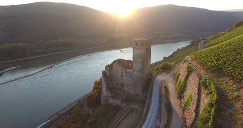 Old German castle on Rhine river (Castle Ehrenfels)