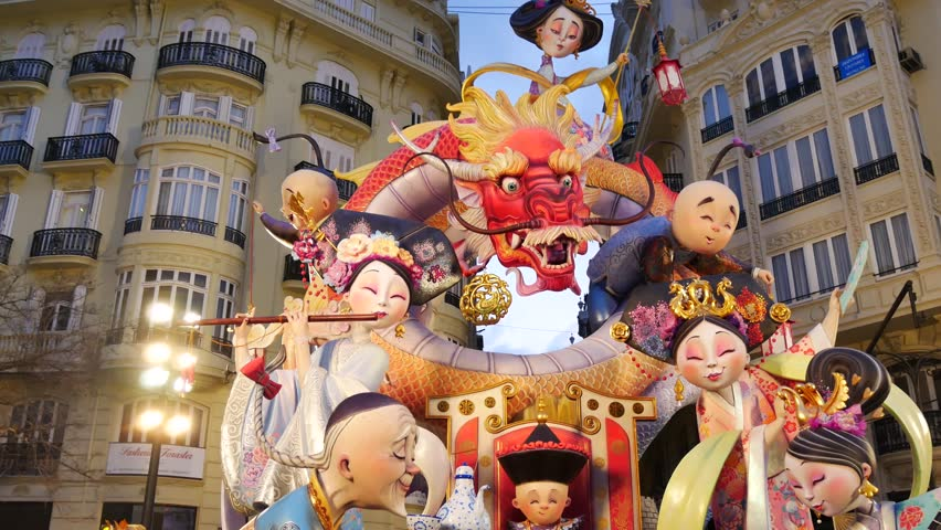 16 MARCH 2017 in Valencia, Spain. Movie with satirical ninots (puppets) on Fallas in Valencia. Papemache and polystyrene models are displayed during traditional celebration in praise of St Joseph.