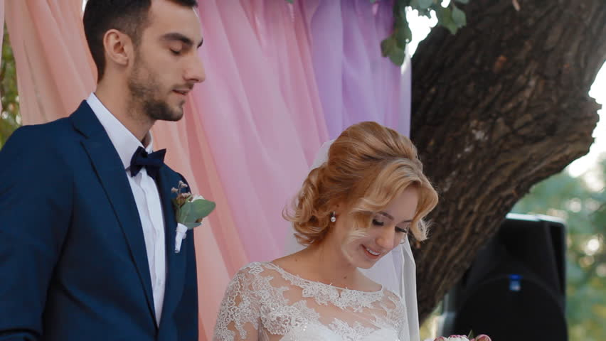 Young caucasian bride and groom on the ceremony. Couple say I do and smile. | Shutterstock HD Video #24913883