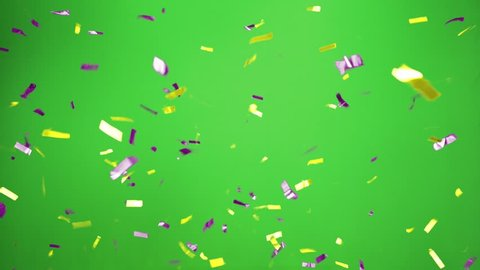 Real Confetti falling  soft and beautiful in the colors blue and pink with  Green screen for party and celebrations