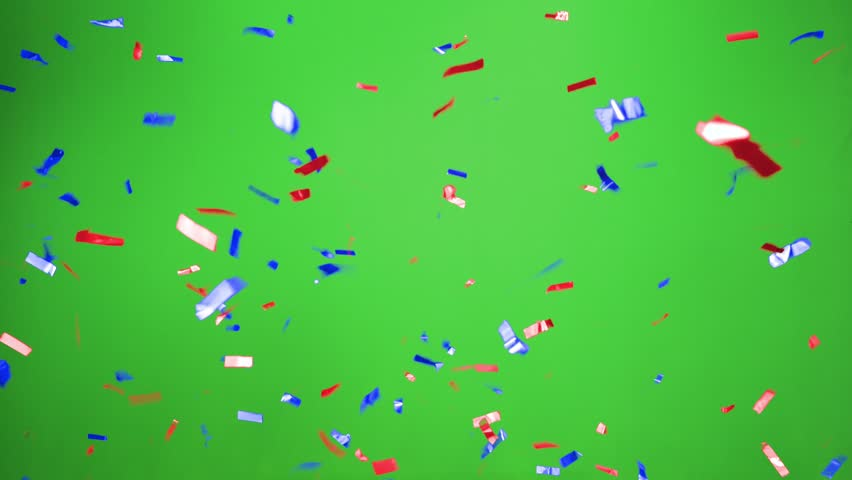 Real Confetti falling  soft and beautiful in the colors blue and purple red with  Green screen for party and celebrations | Shutterstock HD Video #24916934