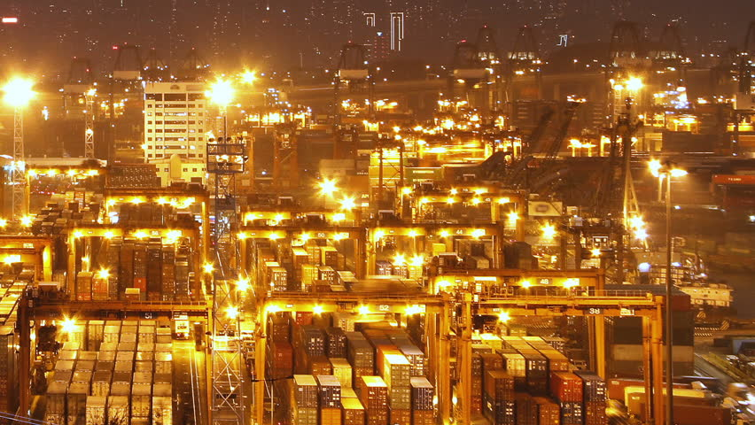 Hong Kong Container Terminal at Night - Hong Kong Kwai Tsing Container Terminals