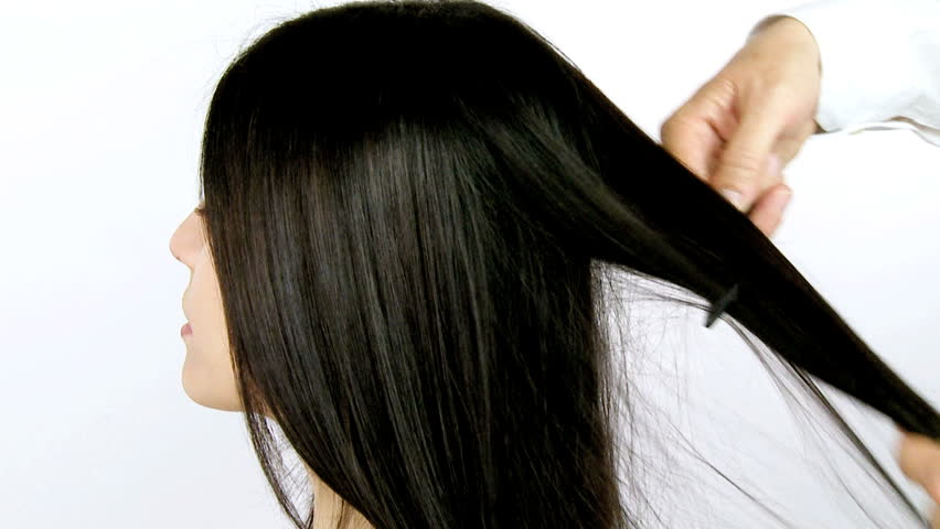 Beautiful Shiny Long Black Hair Being Combed And Straightened St ...