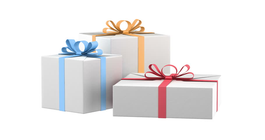 Animation slow rotation of gift box with color ribbons animation gift boxes with color ribbons and bows loop rotate on white background 4k stock footage negle Choice Image