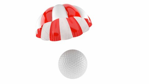 Golf ball with parachute isolated on white background