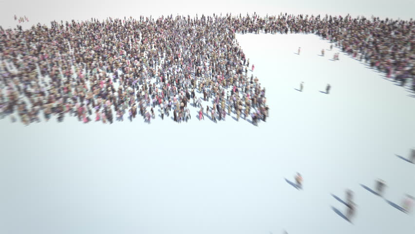 Christians. Thousands of People formed Christian Cross. Crowd flight over. Motion Blur. Camera zoom out.
