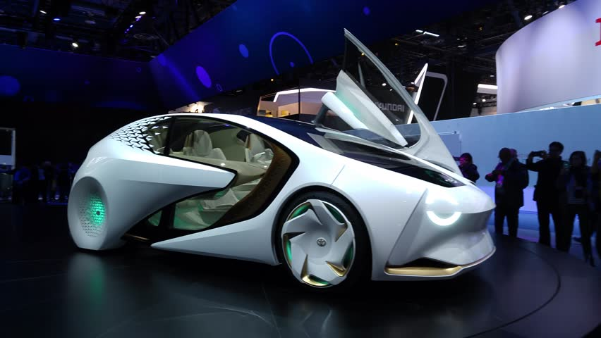 LAS VEGAS - January 08, 2017: Toyota Concept-i concept car with built-in artificial intelligence named 'Yui' presentation at Toyota booth at CES 2017 consumer electronics trade show. 4K UHD.