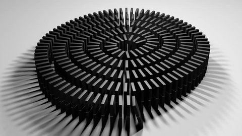 Animation of a row of dominoes falling in a line
