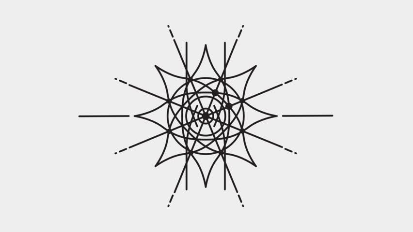 Abstract Geometric Animation, Mandala, Dreamcatcher - Dark Elements on Grey Background