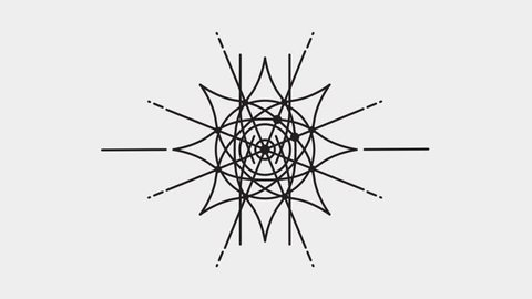 Abstract Geometric Animation, Mandala, Dreamcatcher - Dark Elements on Grey Background