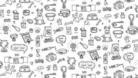 Hand drawn doodle Pets stuff and supply animated icons. Cartoon dog care elements: leash, food, bowl, kennel paw, bone and other goods for pet shop. Seamless loop Symbol collection. Animation Motion