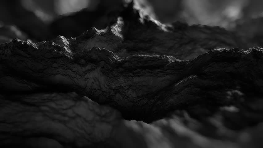 Dark reflective defocused fractal shapes. abstract background looping animation