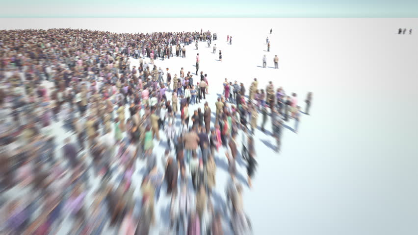 Indian People. Thousands of people formed Map of India. Crowd flight over. Motion Blur. Camera zoom out.
