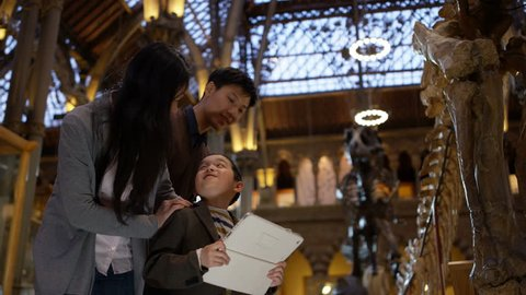 4K Young Asian family in museum pose to take a selfie with computer tablet