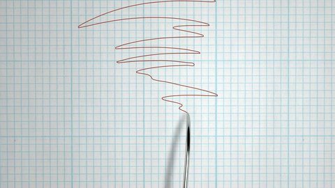 A closeup animation of a polygraph lie detector test needle drawing a red line on graph paper on an grid white background