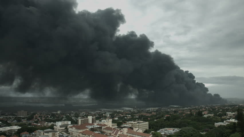 Massive fire with toxic fumes over the city of Durban.