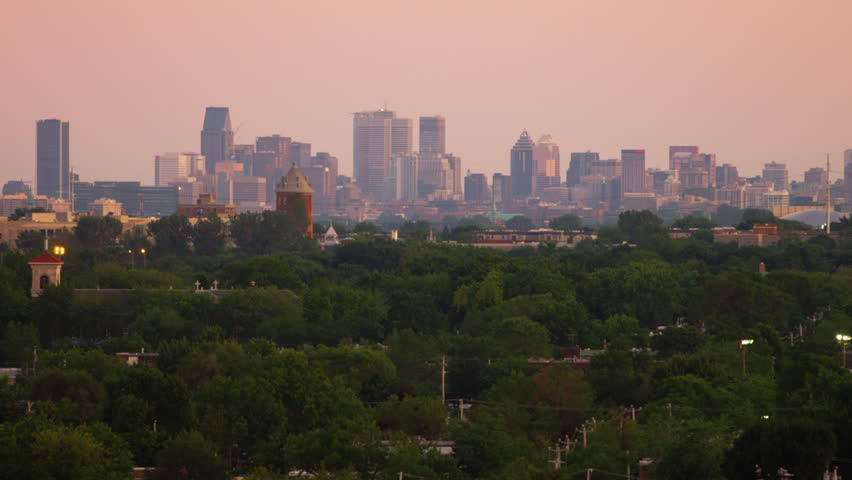 Tight Shot of Montreal Skyline from Suburbs