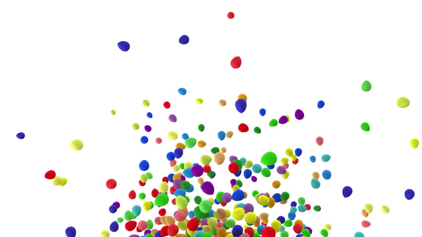 4K Animation of Heap of  Multicolored Balloons Fly on white background