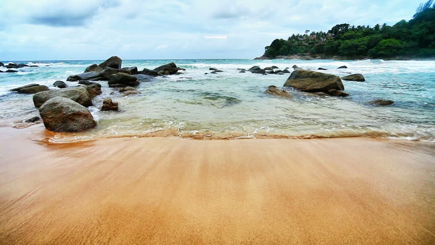 1920x1080 hidef, hdv - Sea surf in a tranquil tropical bay. Thailand, Phuket.