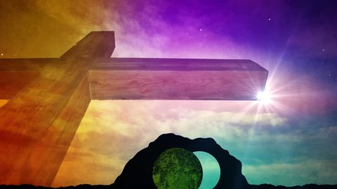 Easter Resurrection Sunday Motion Background Featuring Large Wooden Cross And Open Tomb.