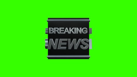 Breaking News Title Rotate in a Black Box in Alpha Channel