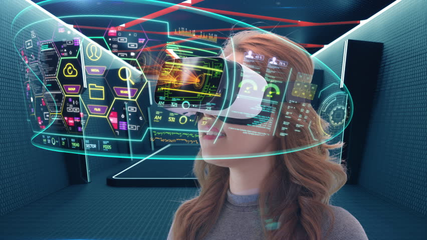 Young attractive Asian female uses futuristic virtual reality headset to access holographic touchscreen interface