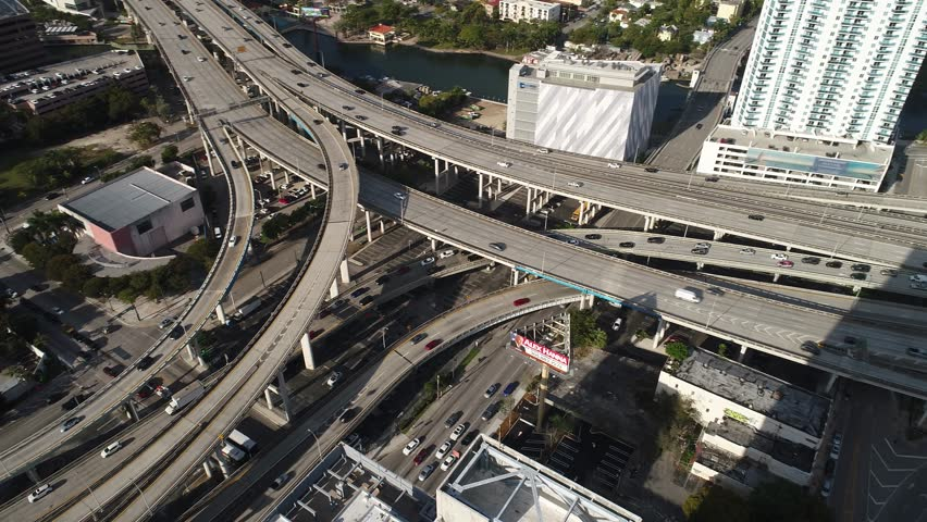 MIAMI, USA - MARCH 27, 2017: Aerial video of a highway interchange at Downtown Miami | Shutterstock HD Video #25324454