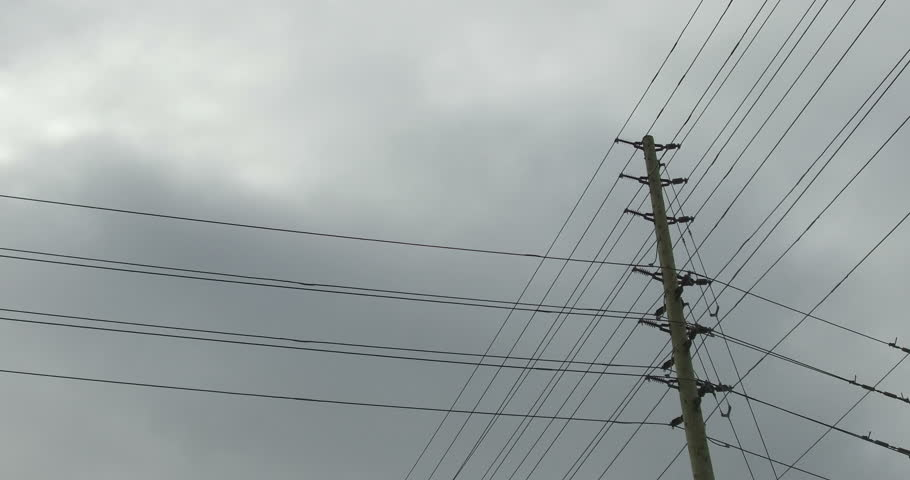 Camera Stabalizer Shoot Electrical Wires On Electric Post Stock ...