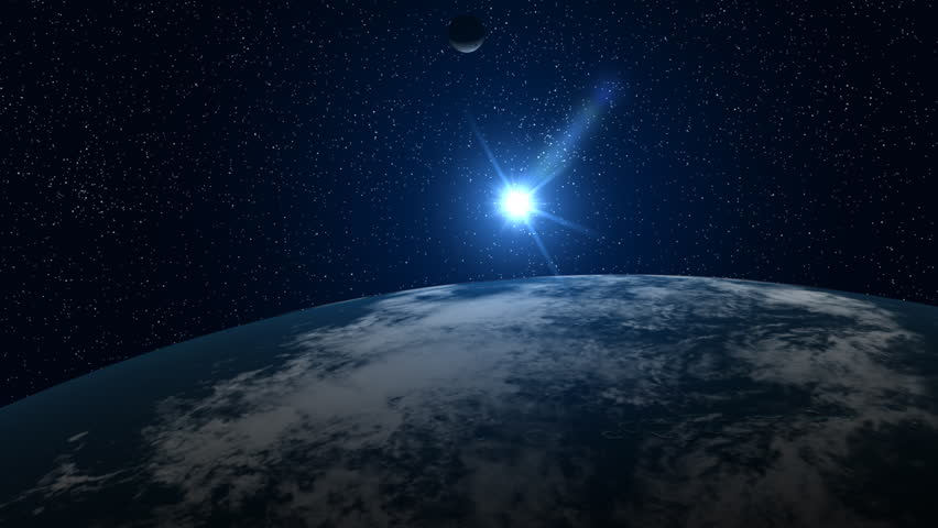 A big, filmic blue Earth with sun and stars in background. NTSC version also available.   Shutterstock HD Video #253564