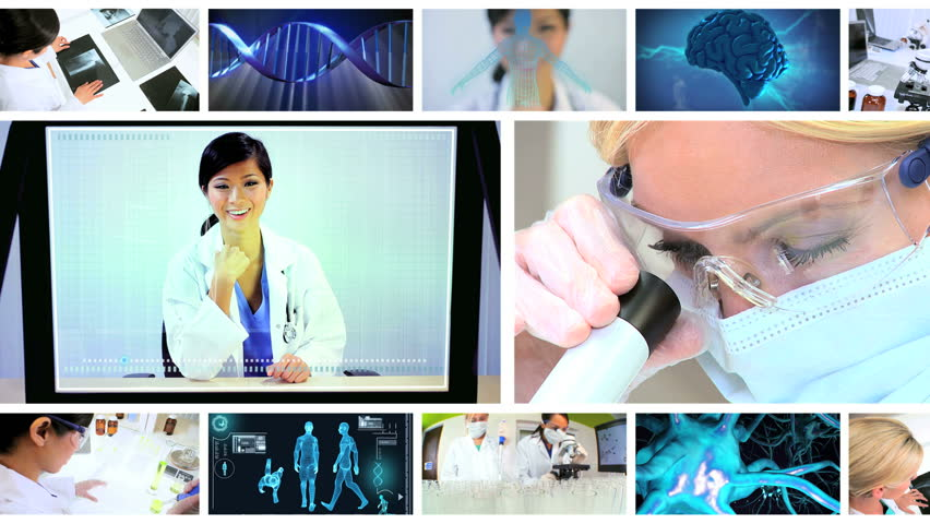 Montage images multi ethnic medical researchers using laboratory equipment with 3D computer generated graphics