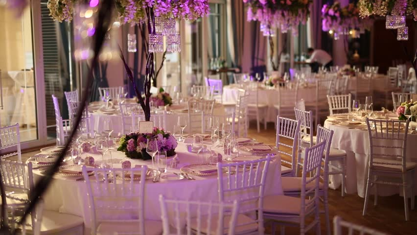 Wedding reception dinner decorations stock footage video 20057104 tables at the wedding banquet wedding decorations wedding at the sea in montenegro junglespirit Gallery
