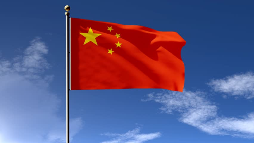 China Flag D Animation With Green Screen And Blue Background - China flag