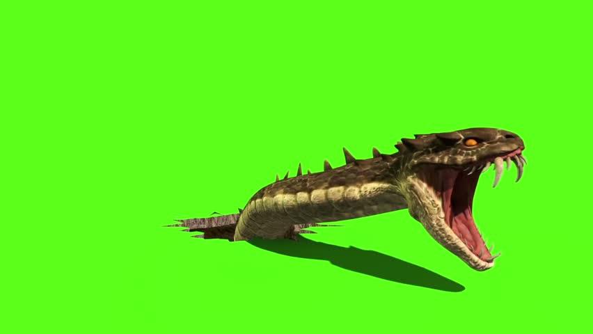 Surface Shatter Giant Snake Front Green Screen 3D Rendering Destruction