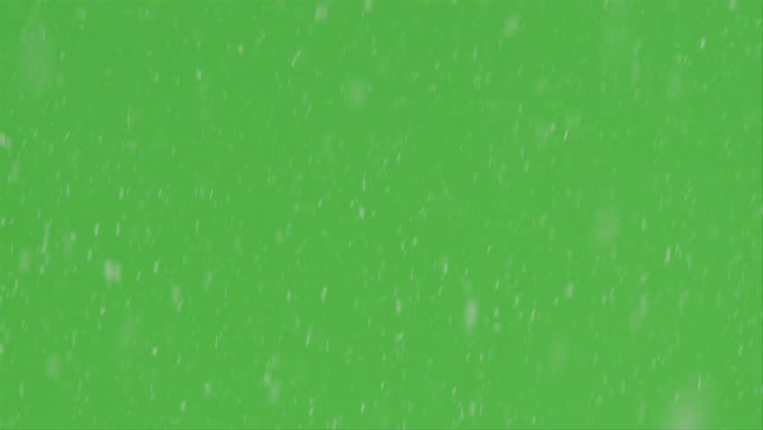 Real snow storm shot against green screen background