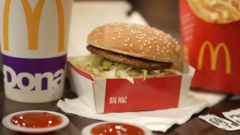 SHAH ALAM, MALAYSIA - 30 March 2017. Close up view of McDonald's Big Mac burger complete with drinks and fries.