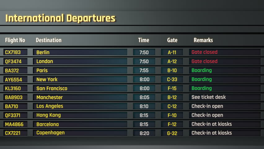 Terrorism threat at airport, all flights canceled on departure board, accident. Airport timetable and information display