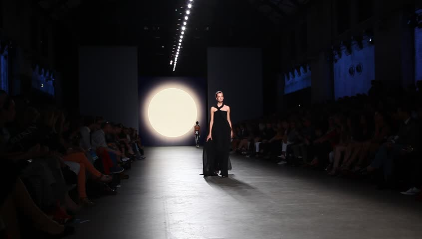 AMSTERDAM, THE NETHERLANDS - JULY 15: Models in Amsterdam Fashion Week present high fashion catwalk by Tony Cohen in Amsterdam, The Netherlands, July 15, 2012 | Shutterstock HD Video #2550164