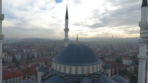 Ankara Kocatepe Mosque Fly Out Drone