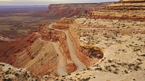 Moki Dugway, a scary winding road carved into the side of a mesa in Utah.