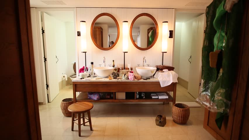 The interior of the bathroom. Interior Design. Bathroom in the apartment or in a hotel. Kabir shower, tub, sink, bidet and toilet.
