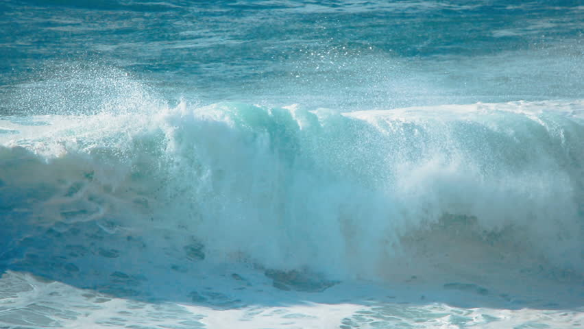 slow motion video of big blue ocean waves crashing beach shore 120 fps to - Moving Picture Frames