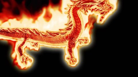 Huge Fiery Dragon Alpha Matte 3D Rendering Animation Camera Tracking