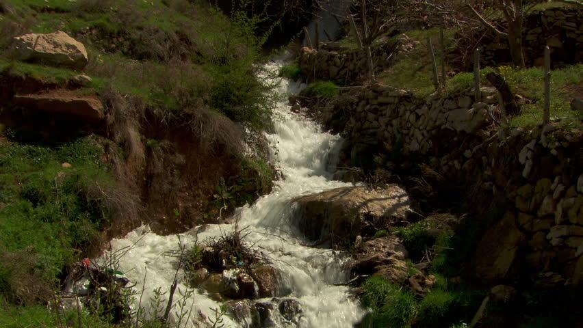 Qadisha Valley, Lebanon. View of the white water cascade, near Bsharri, of the Saint Semaan River a tributary of the Qadisha (aka Abu Ali) River.