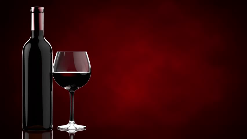 Bottles And Glasses With Red Wine On A Red Background 4k Video