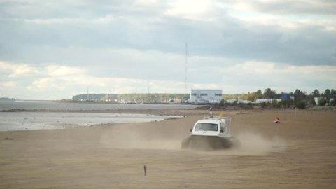 Hovercraft. Boat hovercraft.Boat. beach. sea. SPb. St. Petersburg. The Gulf of Finland.